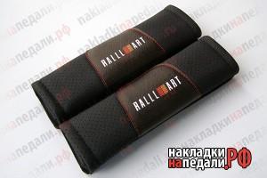 Накладки на ремни с перфорацией RalliArt (черные)